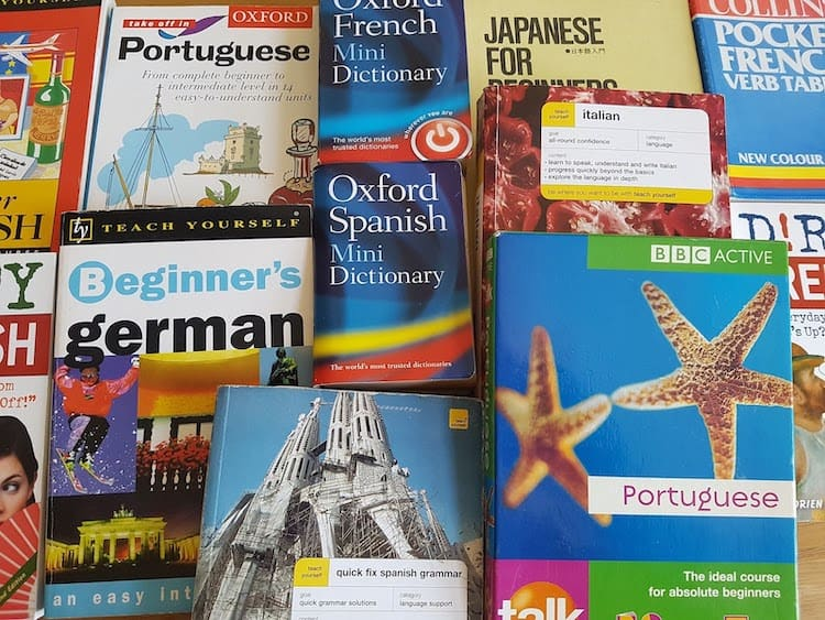 A pile of language learning books