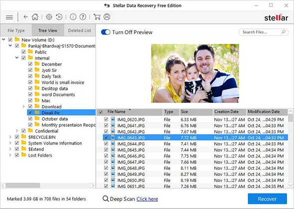 Stellar Data Recovery Free Edition - Tree View